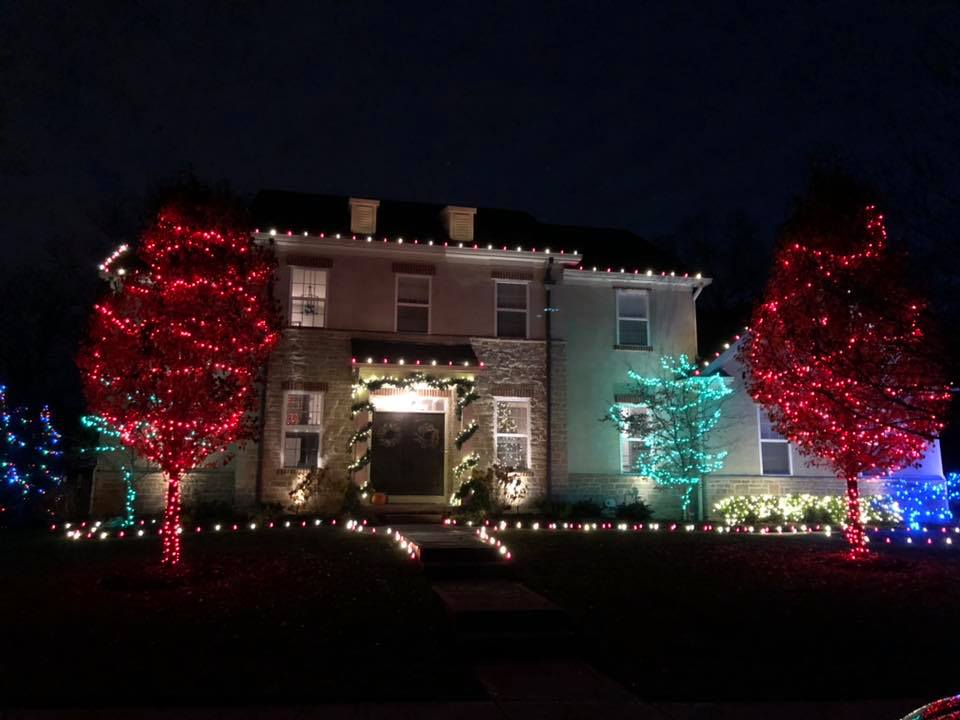 house with holiday lighting