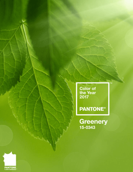 "Pantone Color of the Year card with color code and label ""greenery"""