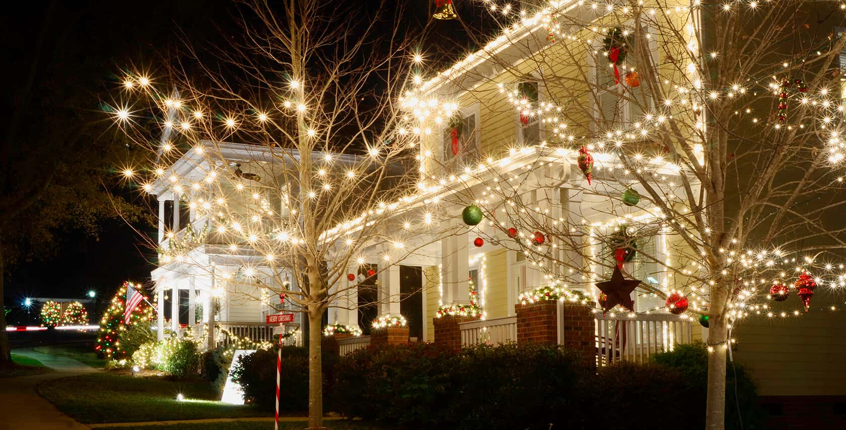 Columbus house with exterior Christmas lighting
